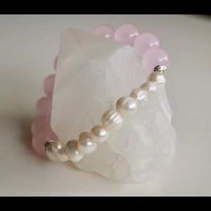 Jewelry - Rose Quartz and Fresh Water Pearl Mala Bracelet